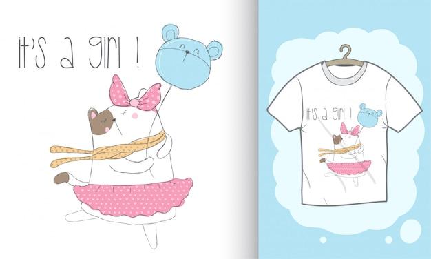 Довольно котенка рисованной иллюстрации для печати футболки