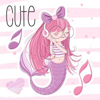 かわいい人魚の手描きイラスト - ベクトル