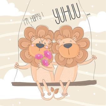 かわいいライオン手描き動物イラスト - ベクトル