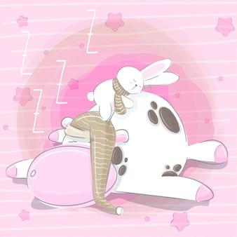 手を眠っているかわいい牛のイラストを描く