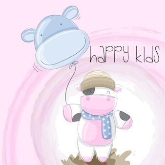 かわいい赤ちゃん牛手描くイラストベクトル