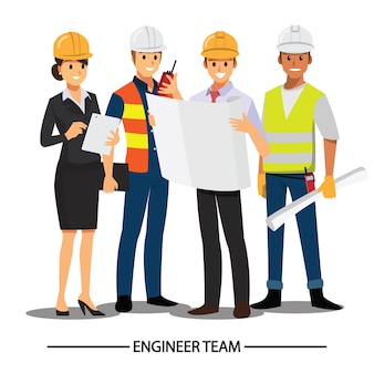 Техник, строители, инженеры и механики