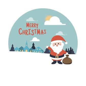 Счастливого рождества фон. персонаж мультфильма санта-клауса