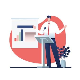 Бизнес семинар, векторные иллюстрации мультипликационный персонаж.