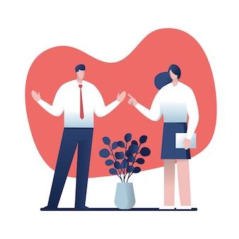 Консультации бизнесменов. мультфильм для бизнеса, векторные иллюстрации характер