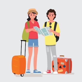 Счастливая группа подростков путешественника