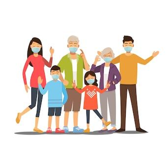 病気、インフルエンザ、空気汚染、汚染された空気、ウイルスを防ぐための保護医療マスクを防ぐために医療マスクを身に着けている家族のグループ。ベクトルイラスト漫画のキャラクター。