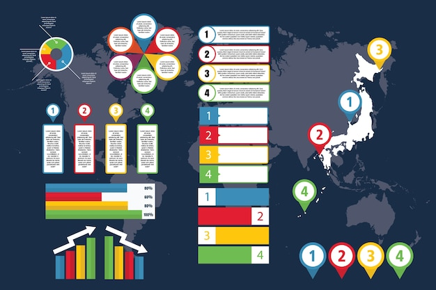 ビジネスとプレゼンテーションのための地図による日本のインフォグラフィック