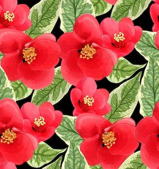 赤い花と葉でカラフルなデザイン。ジューシーなイラスト。シームレスな花柄