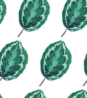 葉を持つエキゾチックなシームレスパターン。植物のテクスチャ。