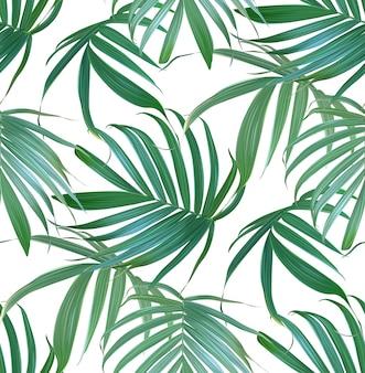 ベクトル熱帯ヤシの葉のシームレスなパターン。