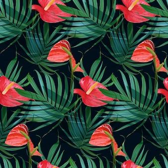 Вектор тропические цветы и пальмовые листья бесшовные модели.