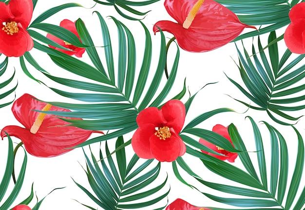 ベクトル熱帯の花とヤシの葉のシームレスなパターン。