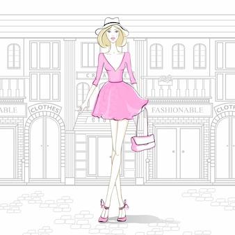 路上のファッションの女の子