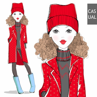 冬の服でかわいい女の子。
