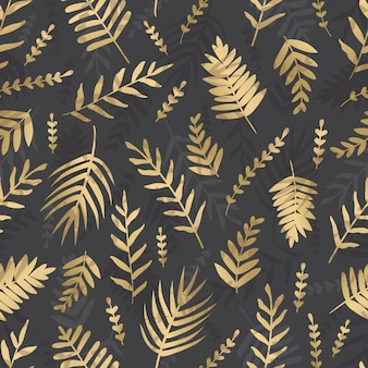 Вектор золотые листья на темном фоне. тропические листья бесшовные модели.