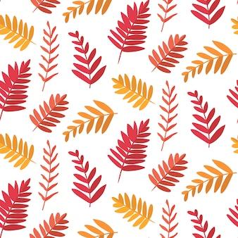 葉とベクトルのシームレスな背景。植物のテクスチャ。
