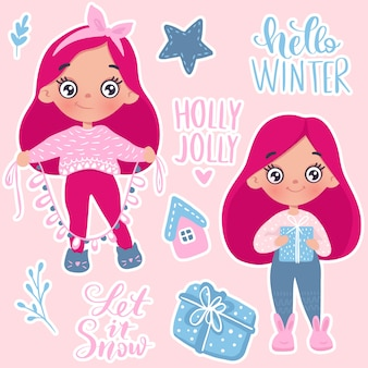 メリークリスマスと幸せな新年の小さな女の子カード