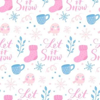 冬のシームレスなパターン。