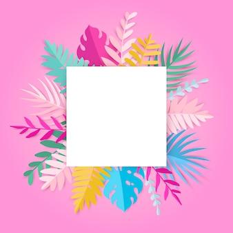Модные летние тропические листья с пустым пространством на розовой карточке