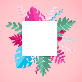ピンクのカードに空白でトレンディな夏の熱帯の葉