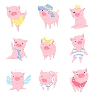 かわいいピンクのブタセット