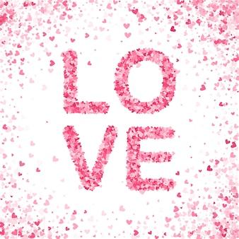 幸せなバレンタインデーのコンセプト。ハートピンクの紙吹雪スプラッシュ。