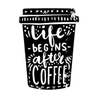 レタリングとコーヒーカップ