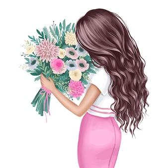 花の花束と美しいブルネット。ファッションイラスト。