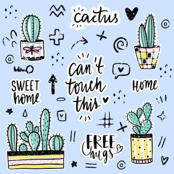 Набор с кактусами, положительными фразами, элементами.