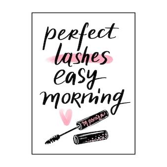 完璧なまつ毛、簡単な朝。手スケッチまつげ引用。