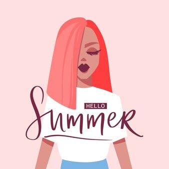 Привет лето. иллюстрация с красивой девушкой.
