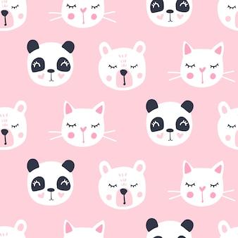 Симпатичные бесшовные модели с мишкой, панда, кошка.
