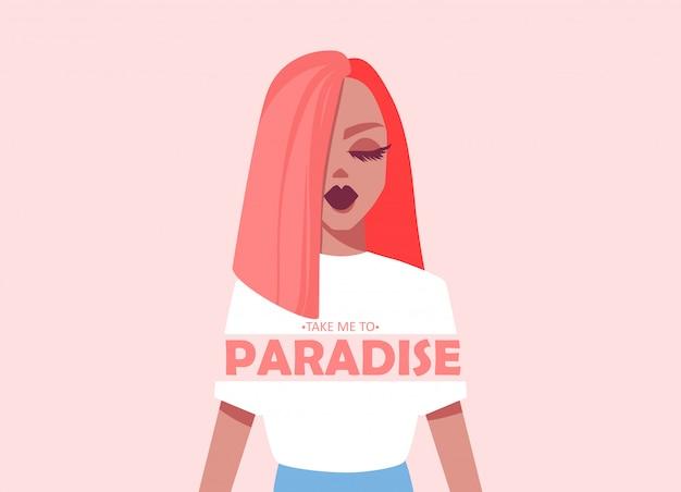 Привет лето. иллюстрация с красивой девушкой. плоский стиль