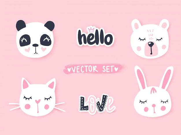 Набор с мультфильм животных панда, кошка, медведь, кролик. очаровательные животные и надписи.