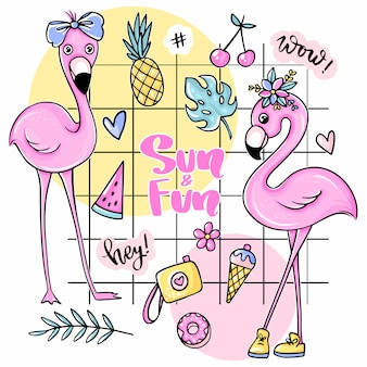 フラミンゴ、アイスクリーム、スイカ、パイナップル、レインボー、レモネード、チェリーが入った大きなかわいい夏のステッカー。