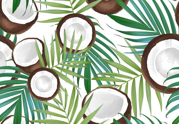 ココナッツとシームレスなパターンベクトル。熱帯のエキゾチックなフルーツ