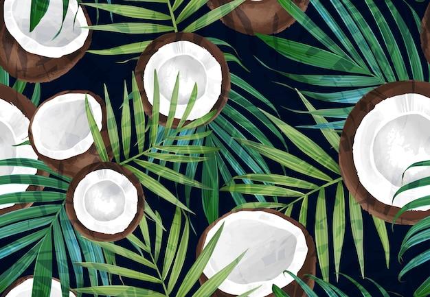 Бесшовный узор вектор с кокосом