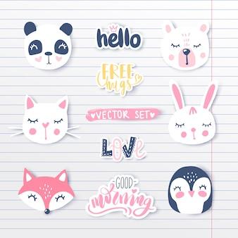 Векторный набор с мультфильм животных - панда, пингвин, кошка, медведь, кролик.