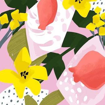 花とフルーツの抽象的なデザインのかわいいベクトルカード。花と葉。夏のイラスト。