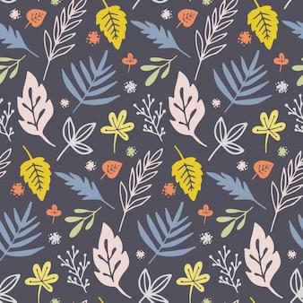 Бесшовный узор вектор с цветами и растениями.