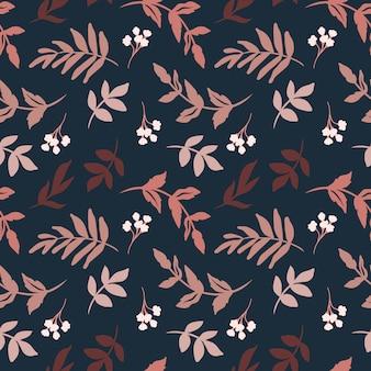 Темный рисованной листья шаблон