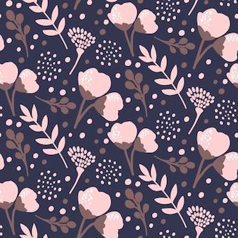Темный рисованной цветочный узор
