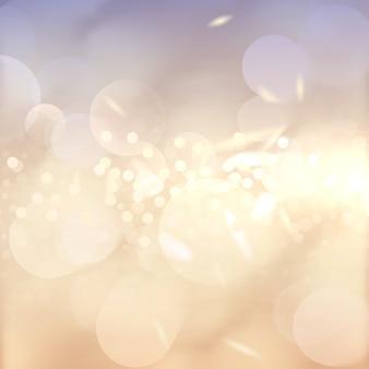 ピンぼけ効果の背景。たくさんのライト。抽象的な黄金の明るい