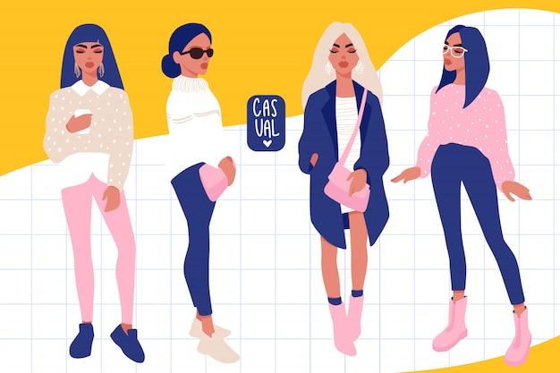Стильные девушки в модной одежде, изолированные на белом