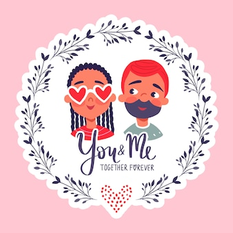 Счастливого дня святого валентина. открытка с милой парой