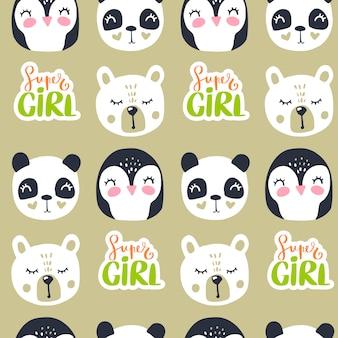 テディベア、パンダ、ペンギンのかわいいシームレスパターン。