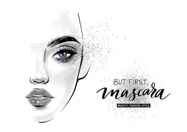 美しい女性の顔。でもまず。マスカラ。