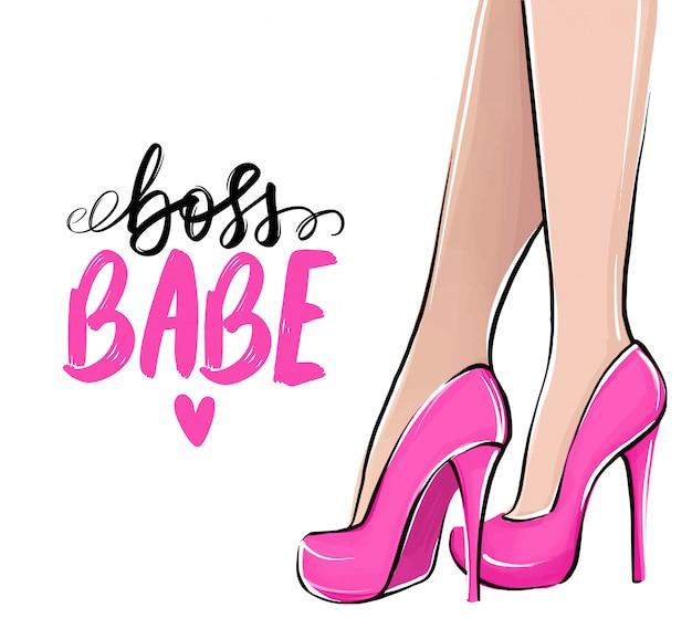 ハイヒールの女の子。ファッションイラスト。靴の女性の足。