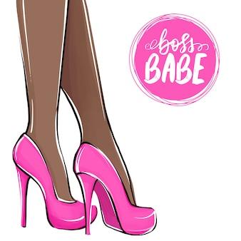上司の可愛い人。ハイヒールの女の子。ファッションイラスト。靴の女性の足。